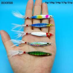 Hoofish 3 pçs/lote metal gabarito iscas de pesca 7g/10g/14g/17g/21g jigs iscas isca de pesca artificial acessórios