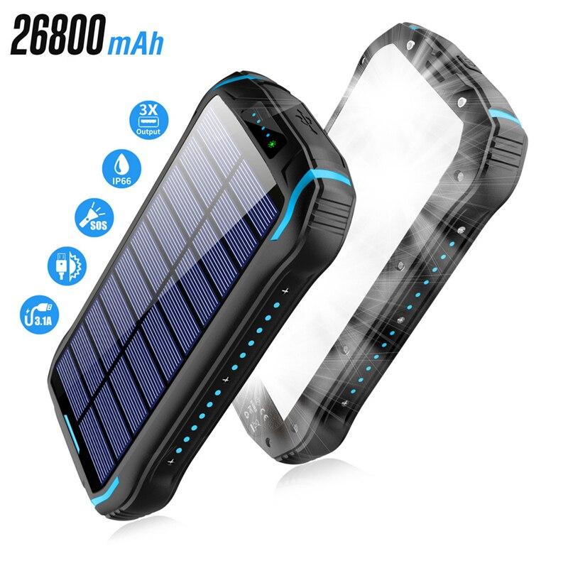 26800mAh بنك الطاقة الشمسية ل شاومي Mi آيفون هواوي سامسونج Powerbank الشمسية المحمولة شاحن بطارية خارجية حزمة قوة البنك