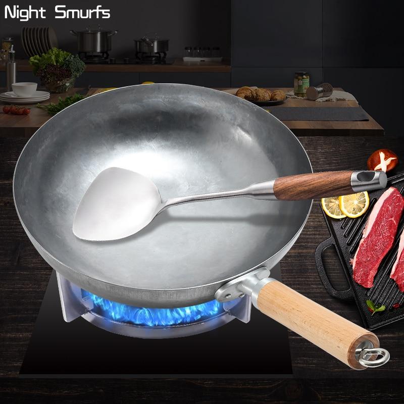 Wok frying pan Chinese Traditional Handmade Forging Wok Durable Iron Woks Uncoating Wrought Iron Non-stick Gas Pot Cookware