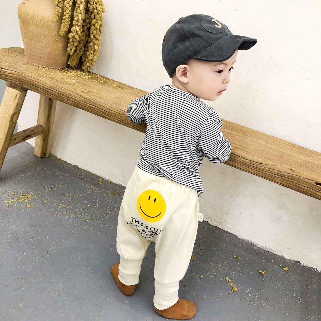 Yg brand children's wear 2021 spring and autumn new smiling face baby casual pants
