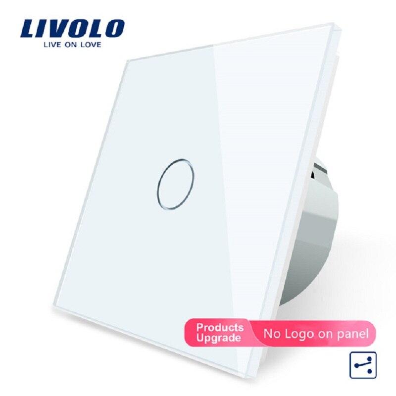 LIVOLO الاتحاد الأوروبي زر تبديل جداري قياسية 1 عصابة 2 طريقة التحكم التبديل ، الأبيض الكريستال والزجاج لوحة ، الجدار ضوء مفاتيح شاشة لمس ، OS-01S-1/2