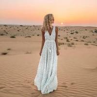 linglewei new spring and summer womens dress fashion womens new dress sexy v neck sleeveless polka dot print beach dress