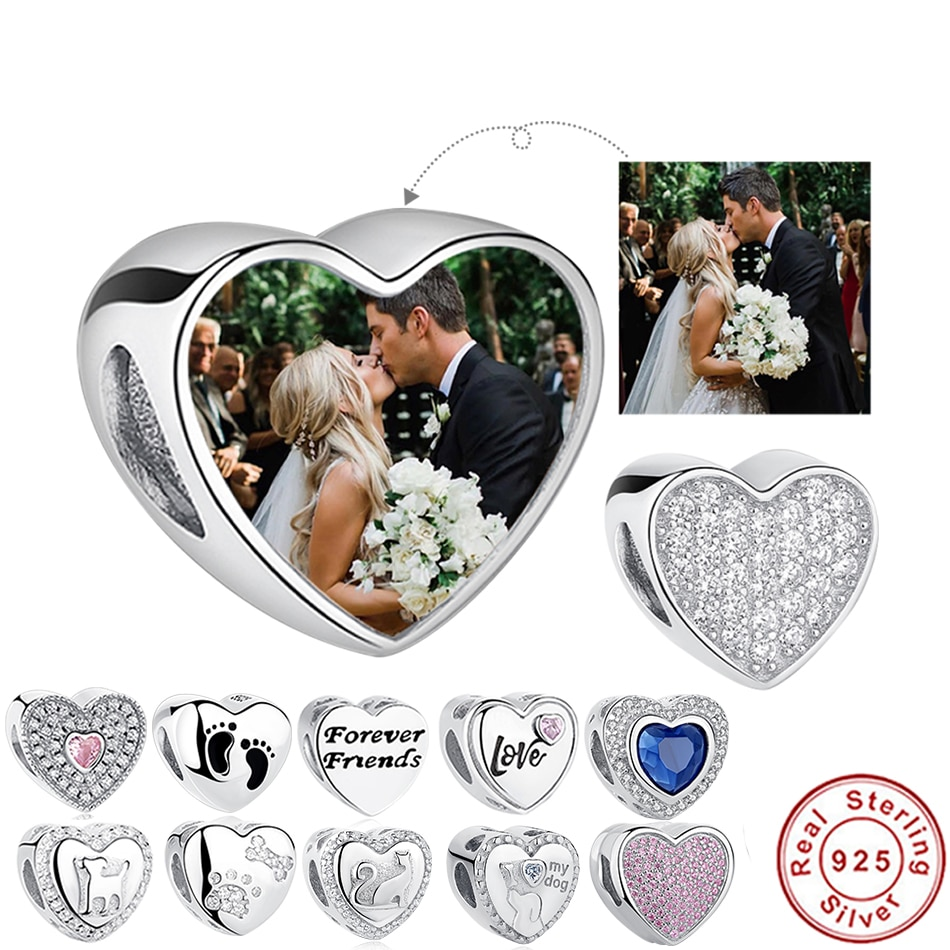2017 crystal radiant heart sterling silver beads fit authentic pandora charms bracelet silver 925 original for jewelry berloque ELESHE 100% 925 Sterling Silver Bead Charm Fit Original Pandora Bracelet DIY Custom Photo Crystal Heart Beads  Jewelry Making