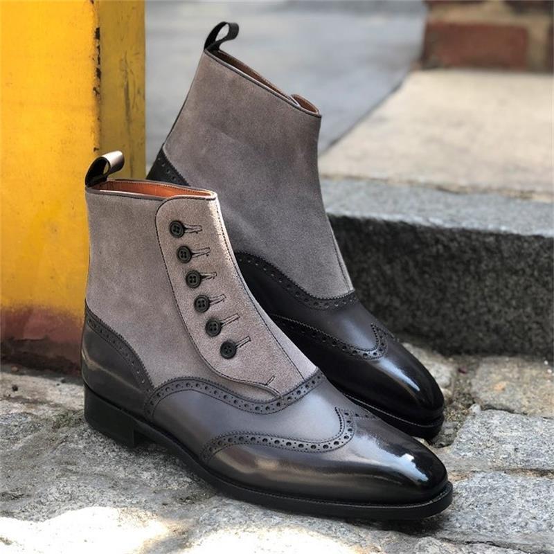 2021 جديد حذاء رجالي موضة الاتجاه الكلاسيكي الأسود بولي Stitching خياطة رمادي الجلد المدبوغ أزرار بروك الجوف كل مباراة حذاء من الجلد KS303