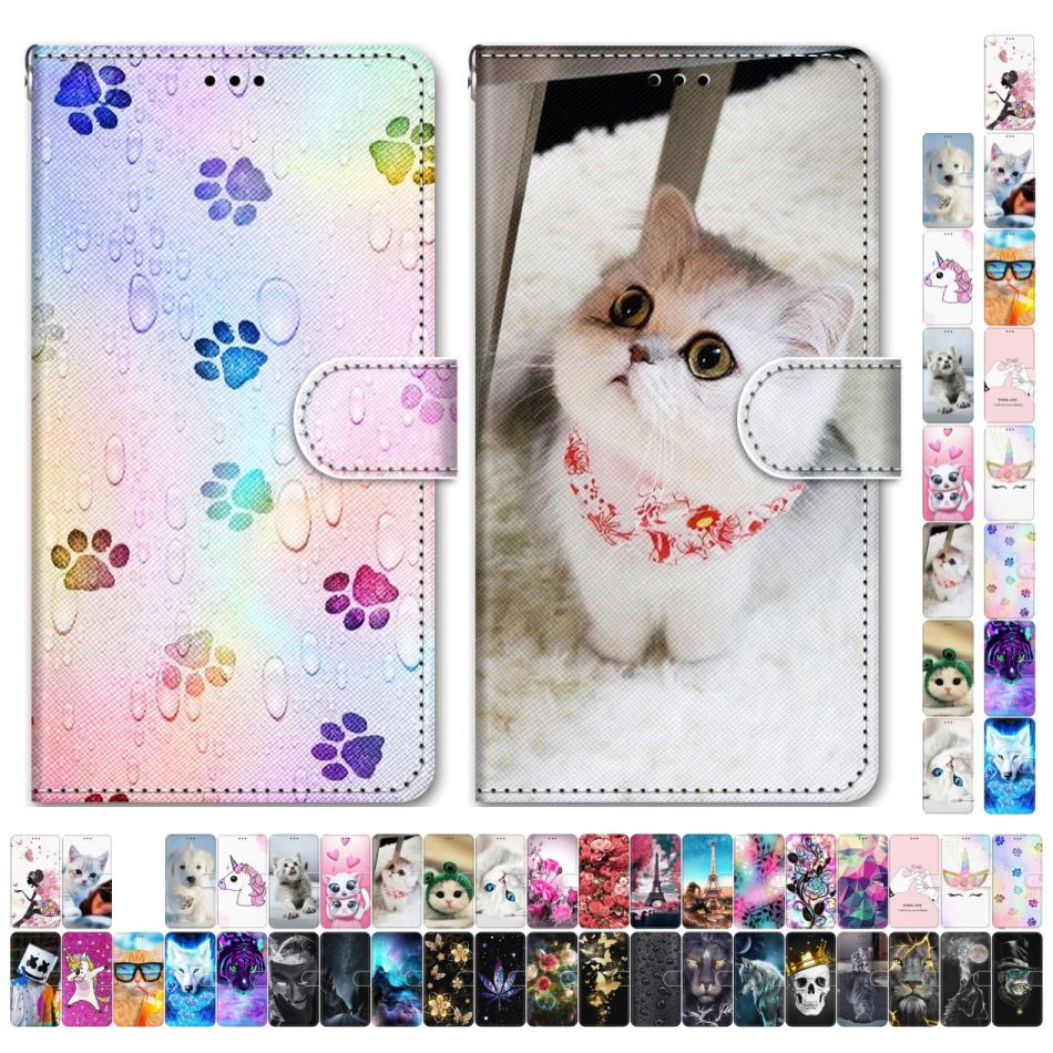 Boys Girls Kids Lovely Phone Bags For Case Samsung Galaxy M40 A750 A70 A60 A6 A7 2018 Animal Flower