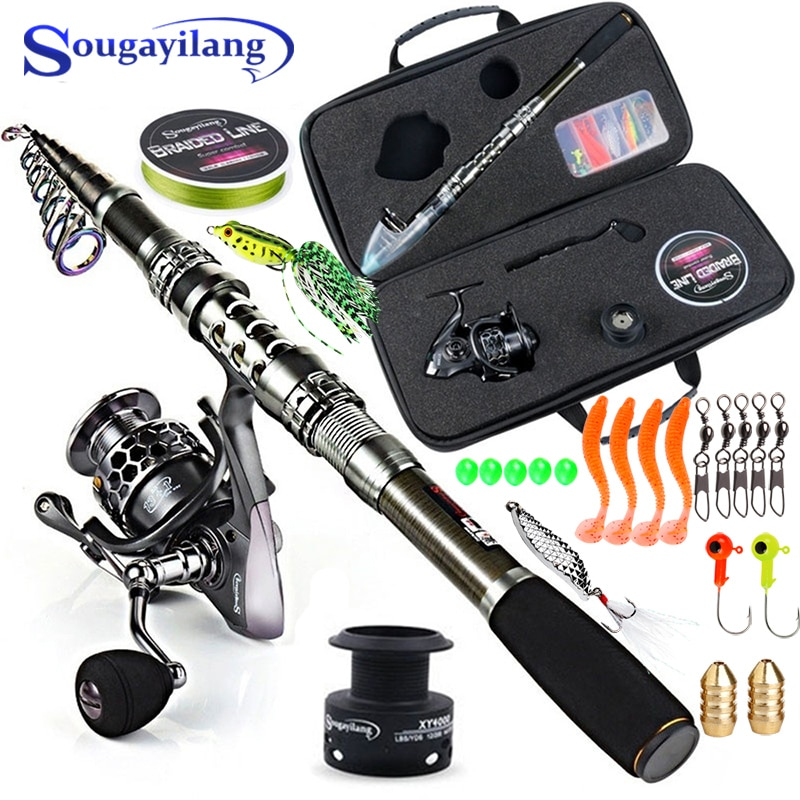 high quality 1 65m telescopic lure rod set casting spinning rod fishing reel fishing rod reel line lures hooks portable bag Sougayilang Fishing Rod and Reel Combo Telescopic Fishing Rod Spinning Reel with Free Spool Fishing Hooks Lure Line Bag Full Kit