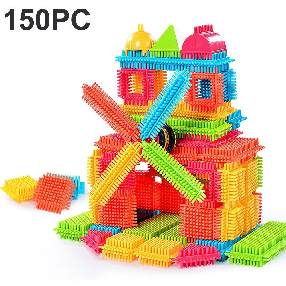 150 Uds. Bloques de construcción 3D azulejos en forma de cerdas divertido tablero de construcción juguetes para niños cadeau femme engranaje de juguete
