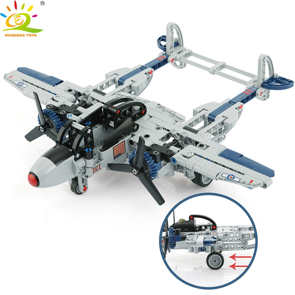HUIQIBAO jouets 330 pièces militaire américain combattant P-38 foudre blocs de construction pour enfants armée WW2 avion briques
