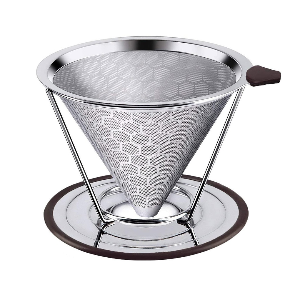 Double Layer Stainless Steel Reusable Coffee Filter with Cup Holder Dripper Baskets