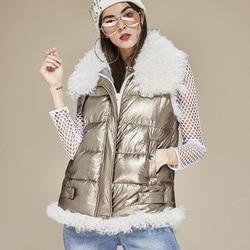 2019 Moda Inverno Verdadeira Pele De Coelho De Lã de Cordeiro Colete de Pato Branco Para Baixo Senhoras Casaco Casaco Da Cintura Alta-grade Quente kz106