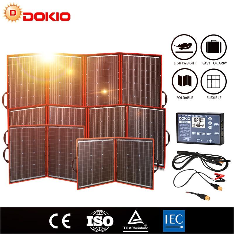 Dokio elastyczne składany słoneczny fotovoltaica Panel  dla podróże i cell telefon i power bank i łódź  12V 80w 100w 150w 200w 300w  wysoka wydajność przenośny solarny panele  + USB controller zestaw