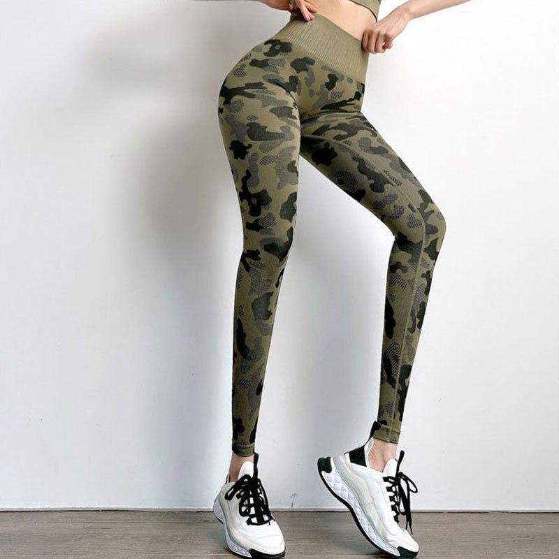 Камуфляжные спортивные штаны с высокой талией для бега, влагоотводящие штаны для фитнеса, бесшовные спортивные штаны для йоги