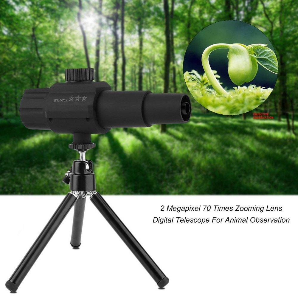 Monocular Digital inteligente HD 70X con Zoom USB Cámara telescopio + trípode para grabación observación caza Monocular