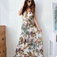 sexy deep v neck print boho sleeveless backless maxi dress summer casual tank vintage long beach dresses for women robe vestidos