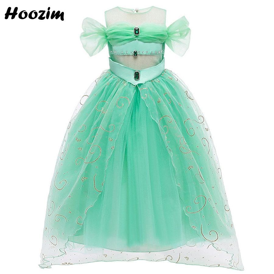 Vestido de fiesta para niña de 4 a 11 años, nuevo vestido de graduación, fiesta de cumpleaños y desfile de Esmeralda Artificial con frente de princesa, 2020