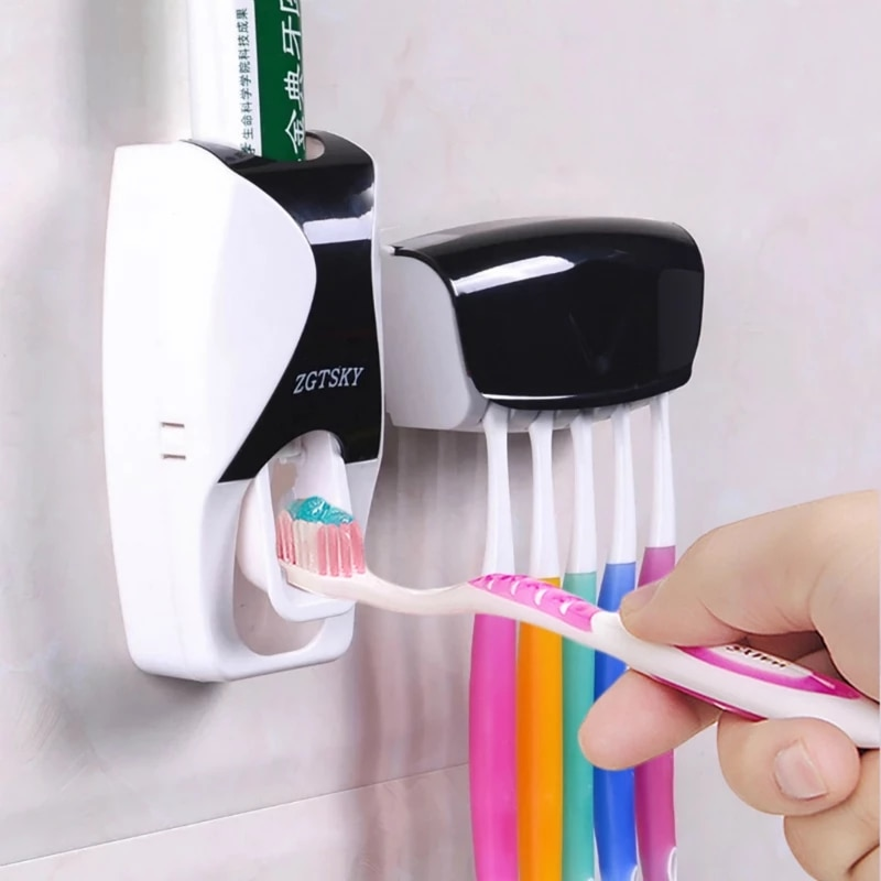 Wall Mount Toothpaste Dispenser Automatic Dust-Proof Toothbrush Holder Wall Mount Storage Rack Bathroom Accessories Set Squeezer