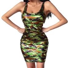 2020 Summer Plus size Women Sexy O-Neck Dress Sleeveless Slim Vestidos Vest Tanks Bodycon Camouflage Wildness Dress
