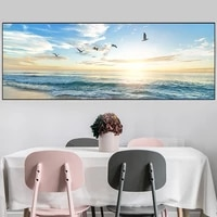 natural sea beach flying birds landscape art posters and prints canvas painting wall art picture for living room decor cuadros