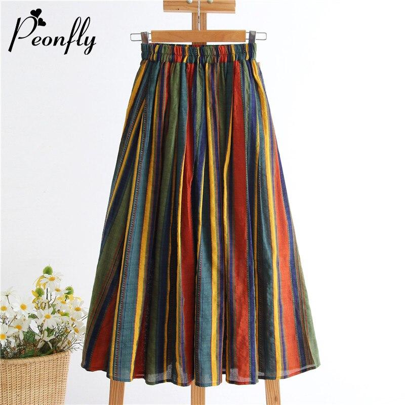 PEONFLY-تنانير طويلة بطيات مخططة ملونة للنساء ، خصر عالي ، طول منتصف الساق ، موضة جديدة لصيف 2020