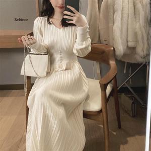 Knitted Dress Women Casual Long Sleeve Vintage Elegant Office Sweater Dress Female  Winter One-piece Dress Korean Outerwear