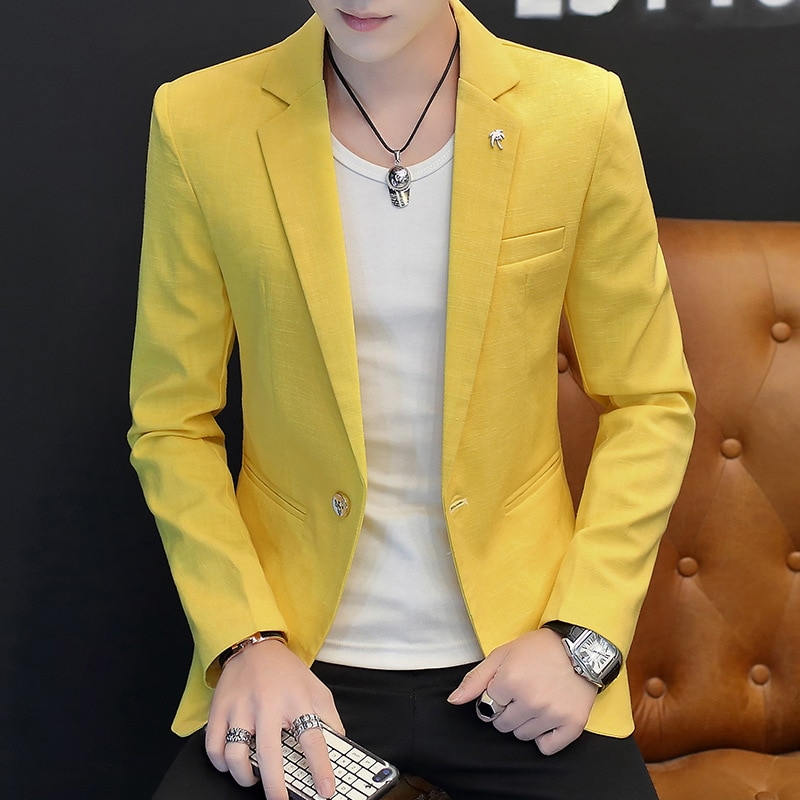 2020 bamboo cotton men's leisure small blazer In the spring of the new solid color blazer
