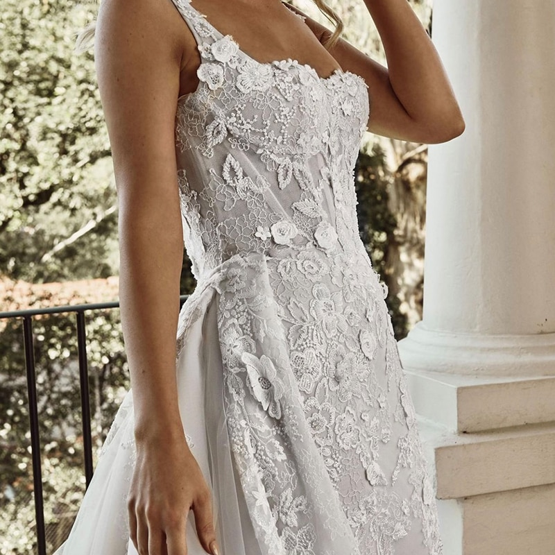 Luxury Mermaid Wedding Dresses Long Sleeve Tulle Detachable Train 2 In 1 Lace Applique Wedding Gowns Scoop Tailor-Made