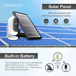 2MP 1080P Wire-Free Solar Power/Battery  IP Camera Long Time Standby Home Security alarm System