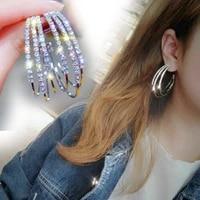 1pair hoop earrings silver gold rhinestone crystal fashion jewelry earrings for women girls