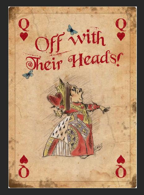Placa de Metal de la Reina de los corazones with sus cabezas...