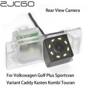 Zjcgo hd ccd retrovisor do carro reverso back up câmera de estacionamento para volkswagen golf plus sportvan variante caddy kasten kombi touran