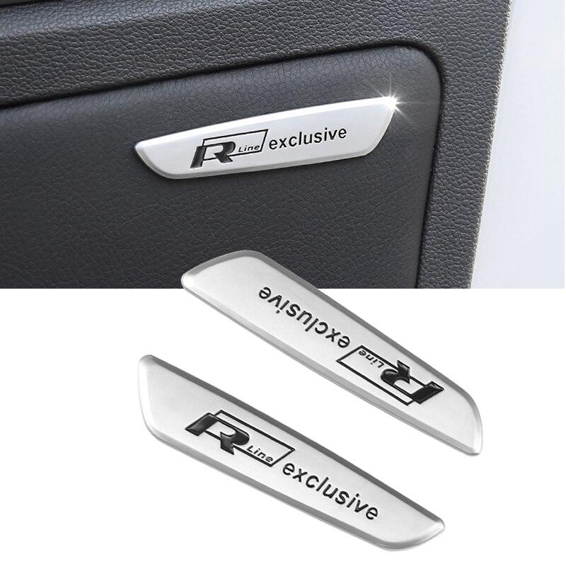 Pegatinas 3D R LING para puerta de coche, emblema de Panel de recorte Interior para VW Polo Golf GTI Passat Magotan Tiguan Touareg Scirocco 2 uds.