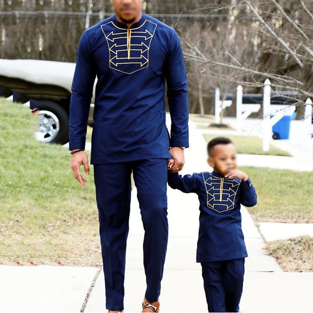 H & D-ملابس أفريقية للأولاد ، تي شيرت بأكمام طويلة ، بنطلون ، بدلة للرجال ، ابن الأب ، Dashiki ، تطريز ، ملابس الحفلات ، 2021