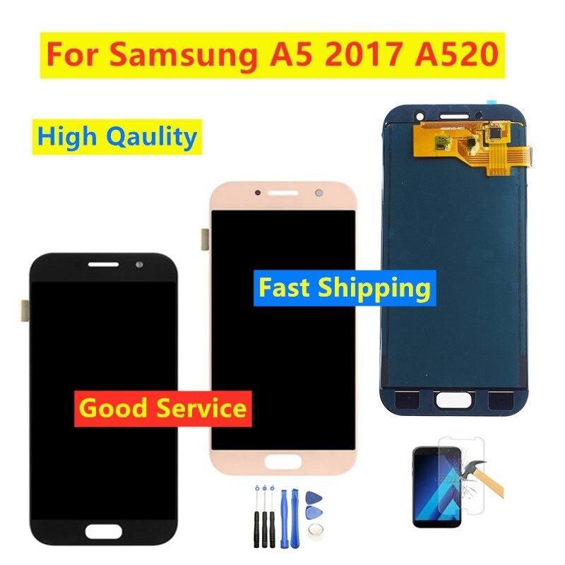 LCD probado para Samsung Galaxy A5 2017 LCD A520 SM-A520F pantalla LCD MONTAJE DE digitalizador con pantalla táctil puede ajustar el brillo
