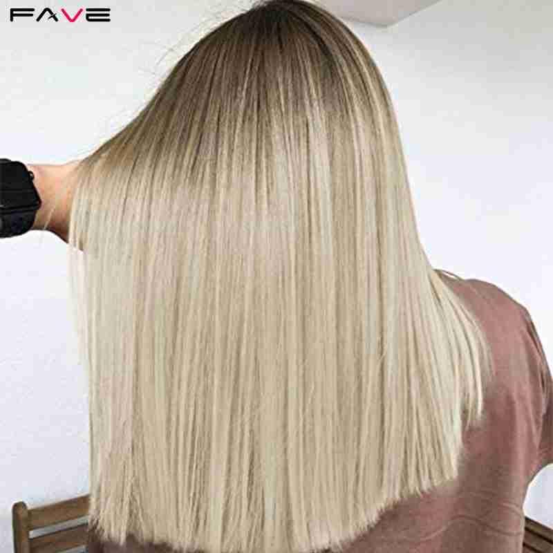 FAVE черный светильник блонд прямой Боб длина плеча синтетический парик Средняя часть косплей вечерние термостойкие волокна для женщин