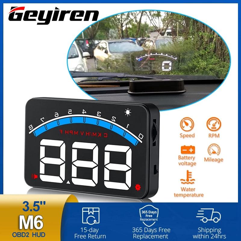 شاشة عرض أمامية للسيارة ، 3.5 بوصة ، OBD2 ، عرض بيانات السيارة ، رقمي ، سرعة دورة في الدقيقة ، عرض درجة حرارة الماء