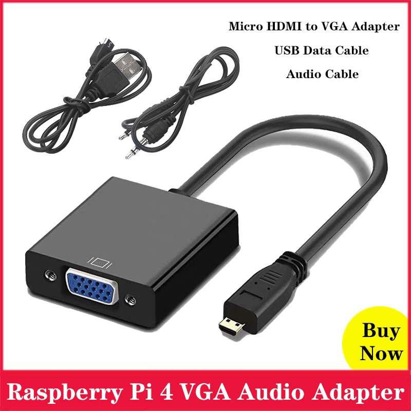 Raspberry Pi 4 Micro HDMI zu VGA Kabel Adapter Konverter mit Audio Kabel Micro USB Kabel für XBOX PS 3/4 HDTV Raspberry Pi 4