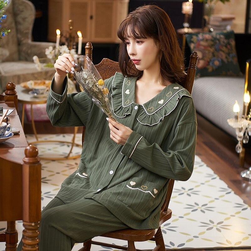 34030 # Новые корейские модные хлопковые комплекты одежды для сна для кормящих матерей Элегантные повседневные свободные пижамные костюмы дл...