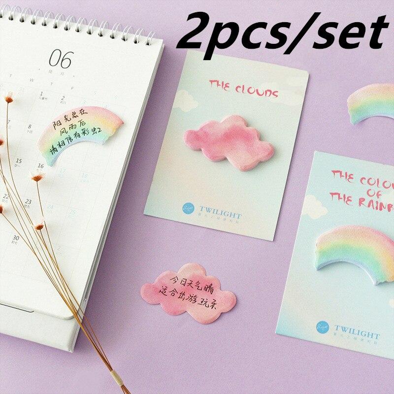Acuarela Arco Iris nube Bloc de notas papel notas adhesivas Kawaii papelería Papeleria Material Escolar