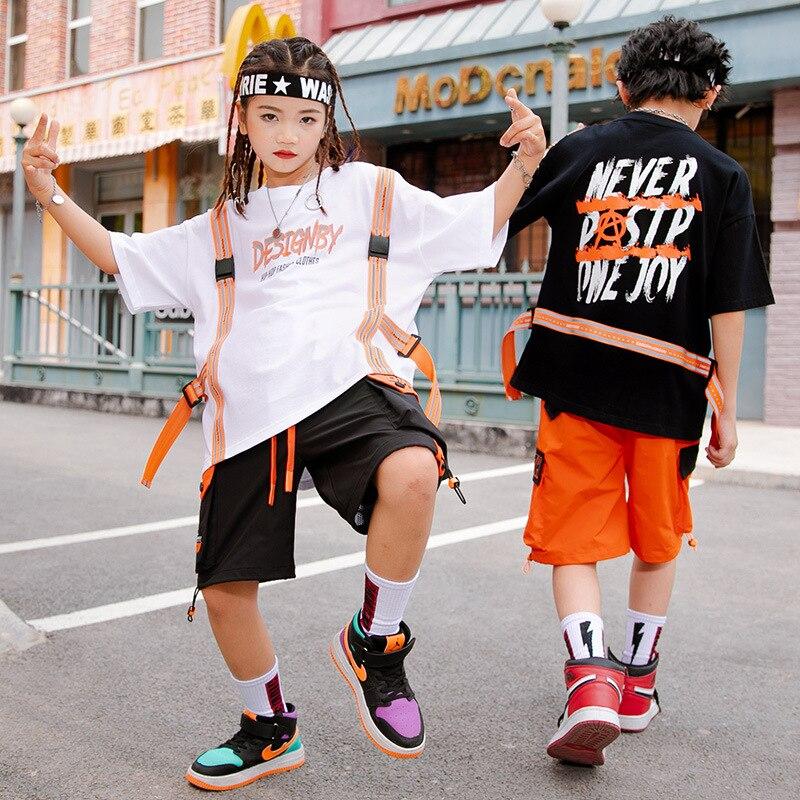 طفل الهيب هوب الملابس الجرافيك تي شيرت حزام المتضخم تي شيرت الشارع الشهير الصيف البضائع السراويل للفتيات الفتيان ملابس رقص الملابس