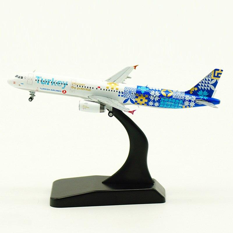 11CM 1/400 Airbus A321 modelo de avión Turkish líneas aéreas fundido aleación estática avión aterrizaje juguetes con engranaje avión exhibición coleccionable