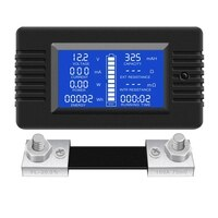 DC Multifunction Battery Monitor Meter LCD Display Digital Current Voltage Solar Power Meter Multimeter Ammeter Voltmeter(Widely