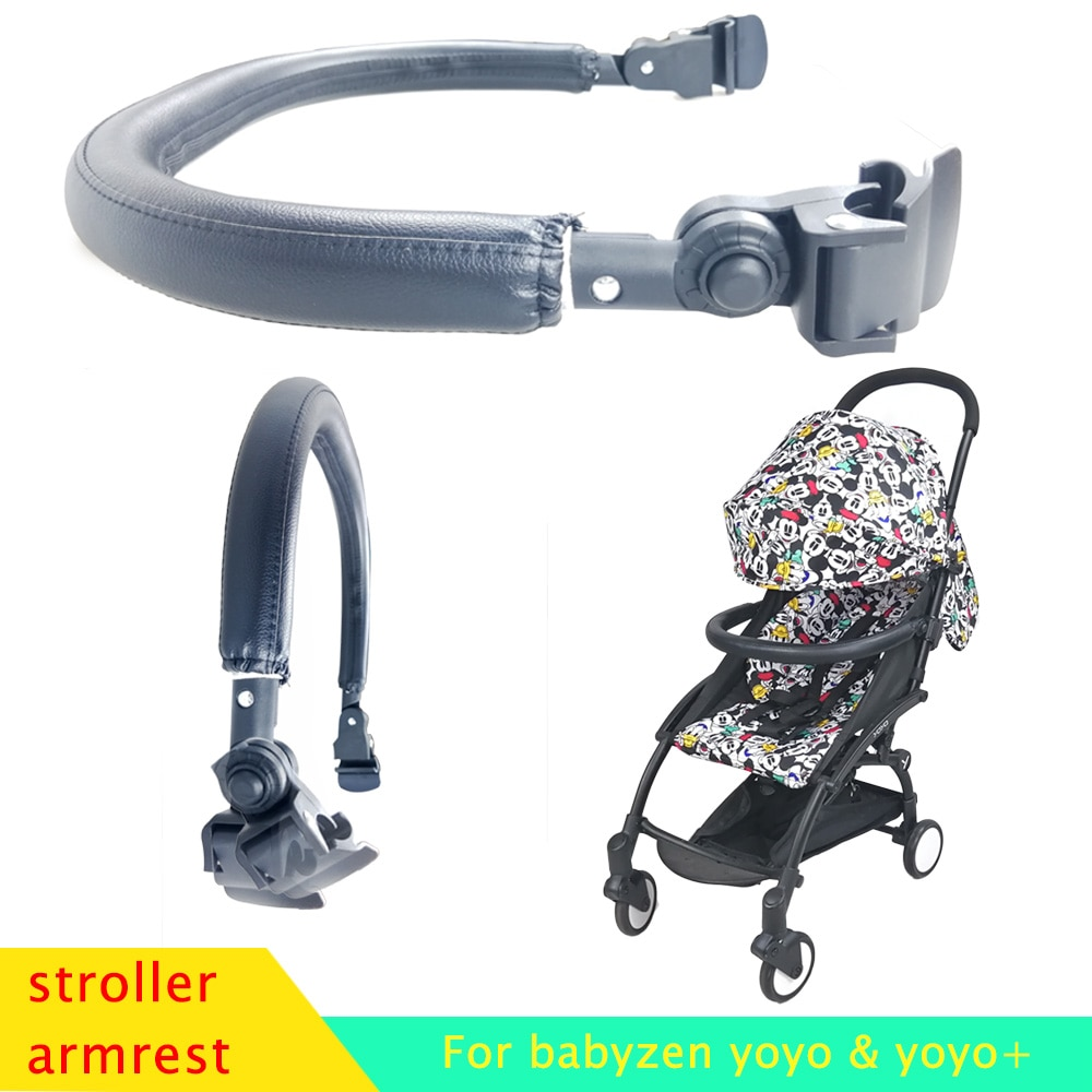 Acessórios para carrinho de bebê, acessórios para barra de bebê, alça de cobertura de couro para yoyo yoya yuyu vovo babytime, apoio para braço frontal