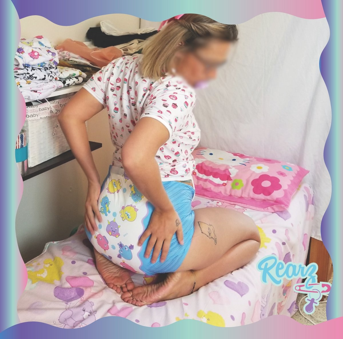 New Canadian ABDL Diaper with Scent Cute Adult Baby High Absorb Diaper DDLG Daddy Daughter Small Space Happy 8 PCS L/XL