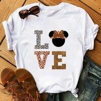 maycaur fashion leopard print love t shirts mouse female shirt casual white women tshirts harajuku t shirt femme tops tees