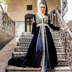 Navy Blue Muslim Evening Dresses Elegant Dubai Kaftan Evening Gowns Turkey 2020 Long Sleeve Velvet Prom Dresses Formal Wear