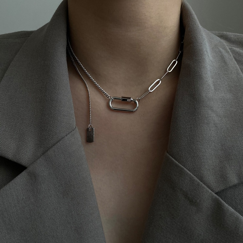 Exaggerated fashion simple personality necklaces geometric Tassel Necklace retro network red temperament punk style women boako retro exaggerated link chain punk metal item necklace female simple hand chain geometric personality necklace shackles b3