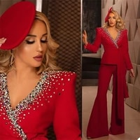luxury crystal 2 piece women suits high qualit beads custom made red suit with belt fashion formal lady office suits
