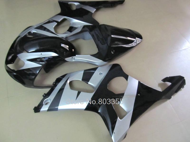Personalizado por suzuki carenados gsxr1000 00 01 02 de plata de plástico ABS negro deportes kit de carenado GSXR 1000, 2000, 2001, 2002 jk12