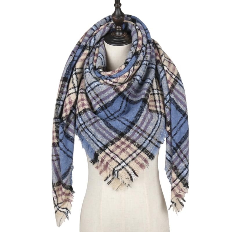 ¡Novedad de 2020! Bufanda triangular de Cachemira de marca de diseñador para mujer, bufandas y chales de Invierno para mujer, manta de punto con cuello, foulard a rayas