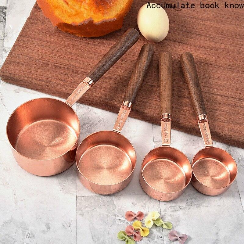 ارتفع الذهب قياس ملعقة قياس كوب مع مقبض خشبي أواني المطبخ أدوات الخبز الأدوات المنزلية اكسسوارات المطبخ